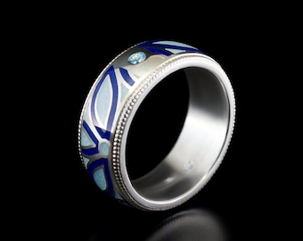 Silver enamel ring topaz jewelry cloisonne floral band enamel flower ring silver wedding ring blue enamel band cloisonne ring wide band gems