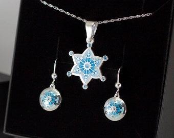 Jewelry Snowflake Set Pendant and Earrings Enamel Topazes Silver Set Snowflake Enamel Set Silver Snowflake charm gemstones xmas jewelry set