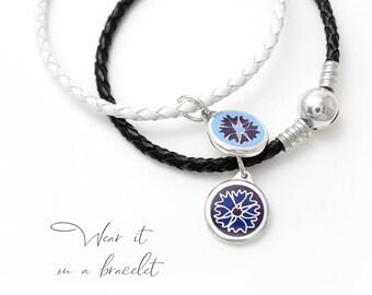 Silver enamel charm flowers pendant enamel silver pendant enamel cornflower charm silver estonian jewelry enamel necklace enamel blue charm