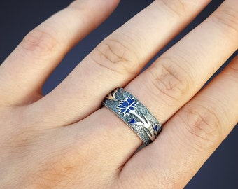 Silver enamel ring oxidized silver band with enamel band cornflower ring silver wedding ring enamel gold plated silver ring gilded enamel