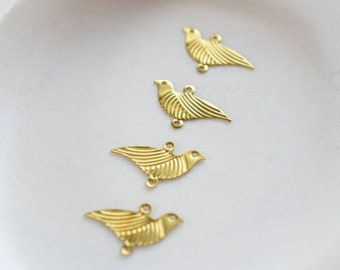 East and West Made in USA RB1 6 Raw Brass Swallow Bird Charms
