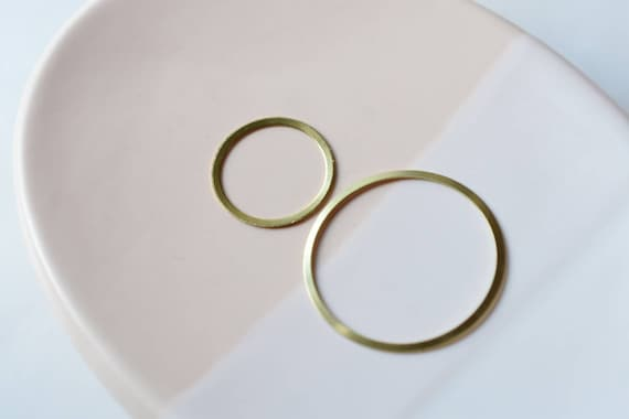 6 Raw Brass Circle Ring Link Charm Pendant Nickel Free