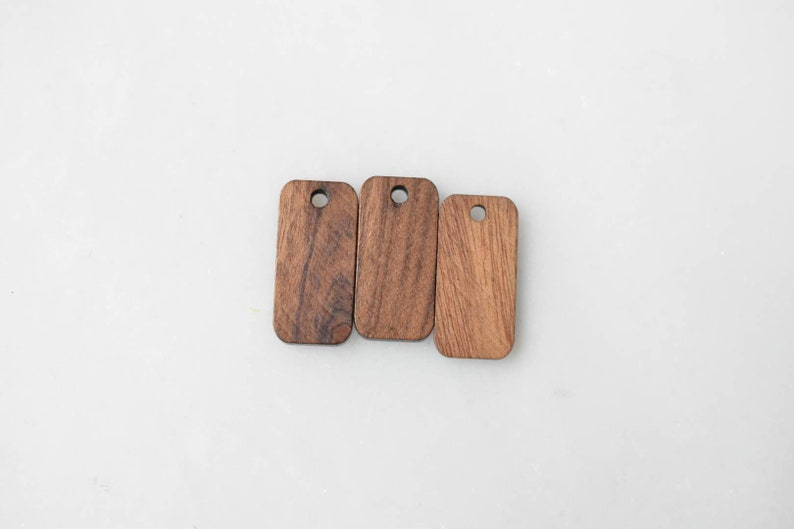 Little Bar Shaped Wood Charm Connector Earring 21x10x3mm