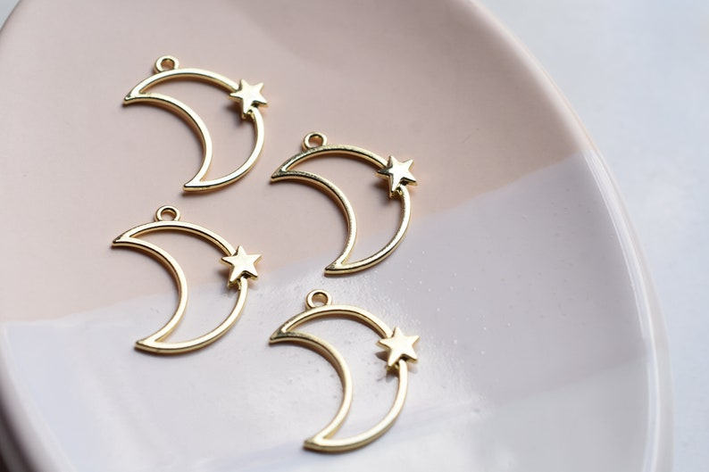 412 Pieces Gold Star Moon Charm Connector 42x33mm