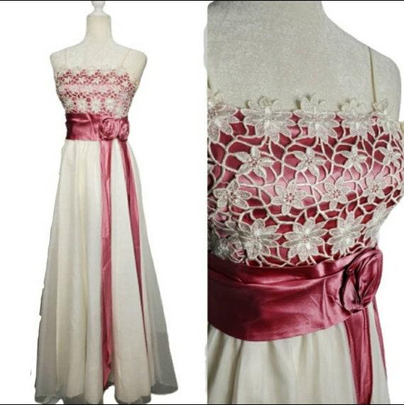 VINTAGE floral crochet prom wedding gown dress