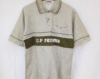 Vintage u.p RENOMA Polo Shirt big logo embroided logo size large 94917414345