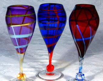 Beautiful and Colorful Spider Web Wine Goblets