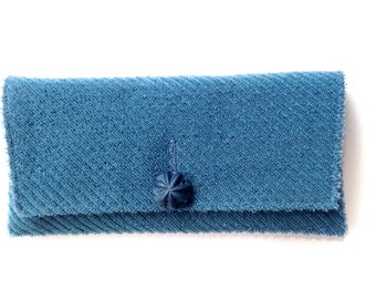Cahoots Handbags Vintage 1960s Blue Frieze Clutch