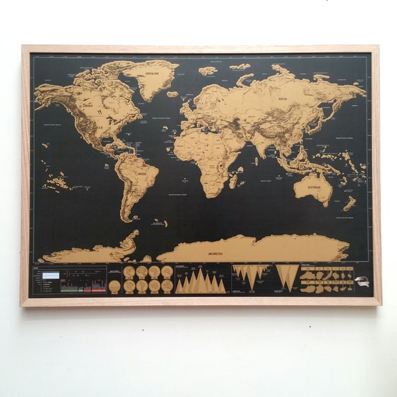 Scratch off Map World Map Wall Art Framed Map Pin board Push | Etsy