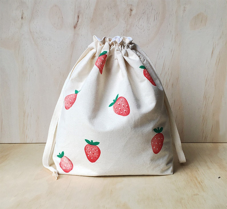 5038465bd8a6 Strawberry lunch bag / Travel Bag / Pull string bag