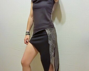 Asymmetric skirt with lace