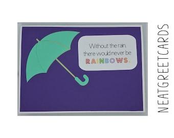 Rainy Day Umbrella Sympathy card 5x7 handmade card cardstock card