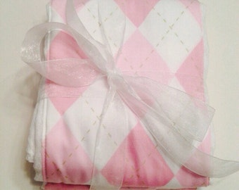 PINK ARGYLE set of 2 baby burpees flannel sewn on absorbent cloth diaper