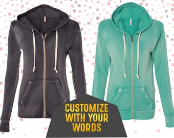 Custom Women's Hoodie  Zip Up Sweater with Gold Foil Print