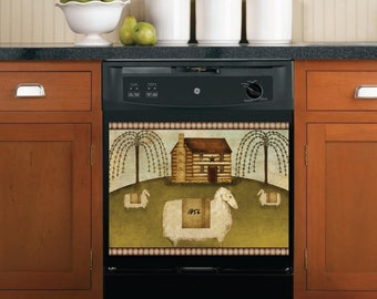 Collectibles Magnets Country Patchwork Heart Star Primitive Folk Art Dishwasher Magnet Kitchen Decor