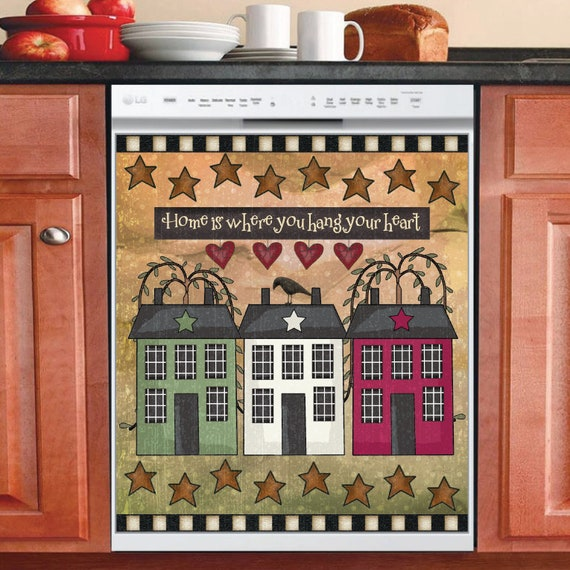 Primitive Barn Star And Wreath Country Prim Decor Kitchen Dishwasher Magnet Magnets Home