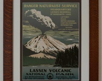 Lassen Volcanic National Park Service Poster -Azure- in Quartersawn Oak Frame