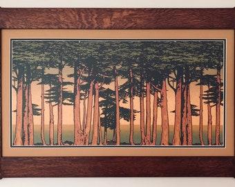 Lands End Large Frieze Mission Style Art in Quartersawn Oak Frame