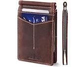 SERMAN BRANDS RFID Blocking Slim Bifold Genuine Leather Minimalist Front Pocket Wallets for Men with Money Clip - Texas Brown Rogue