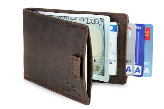 Full Grain leather Bi-Fold RFID blocking wallet for men slim  0b49448dc