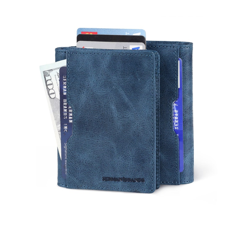 43614319299 Travel Wallet RFID Blocking Bifold Slim Genuine Leather Thin | Etsy