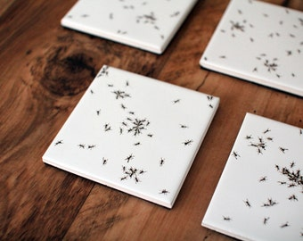 Ant covered coasters! Individually hand painted ceramic tile coasters.
