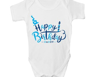 Mommy Me Happy Birthday Daddy Boys Kids Present Cute Baby Grow Body Suit Vest New Gift