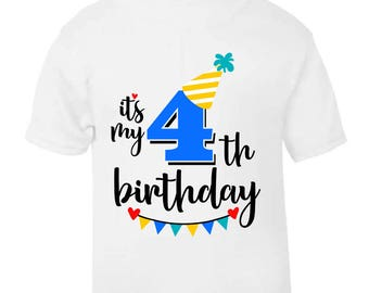 Its My 4th Fourth Birthday T Shirt Childrens Kids Boys Cake Smash