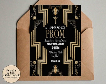 Personalised Great Gatsby Party Art Deco Prom Invitations Tickets