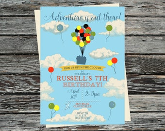 Personalised UP Invitations Adventure Is Out There Invite Vintage Clouds Sky Balloons Flying House Up And Away Explorer
