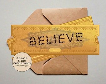 image about Polar Express Golden Ticket Printable identify Polar categorical ticket Etsy