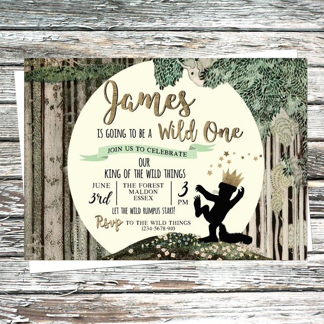 Personalised Wild One Invite Where The Wild Things Are Invitation