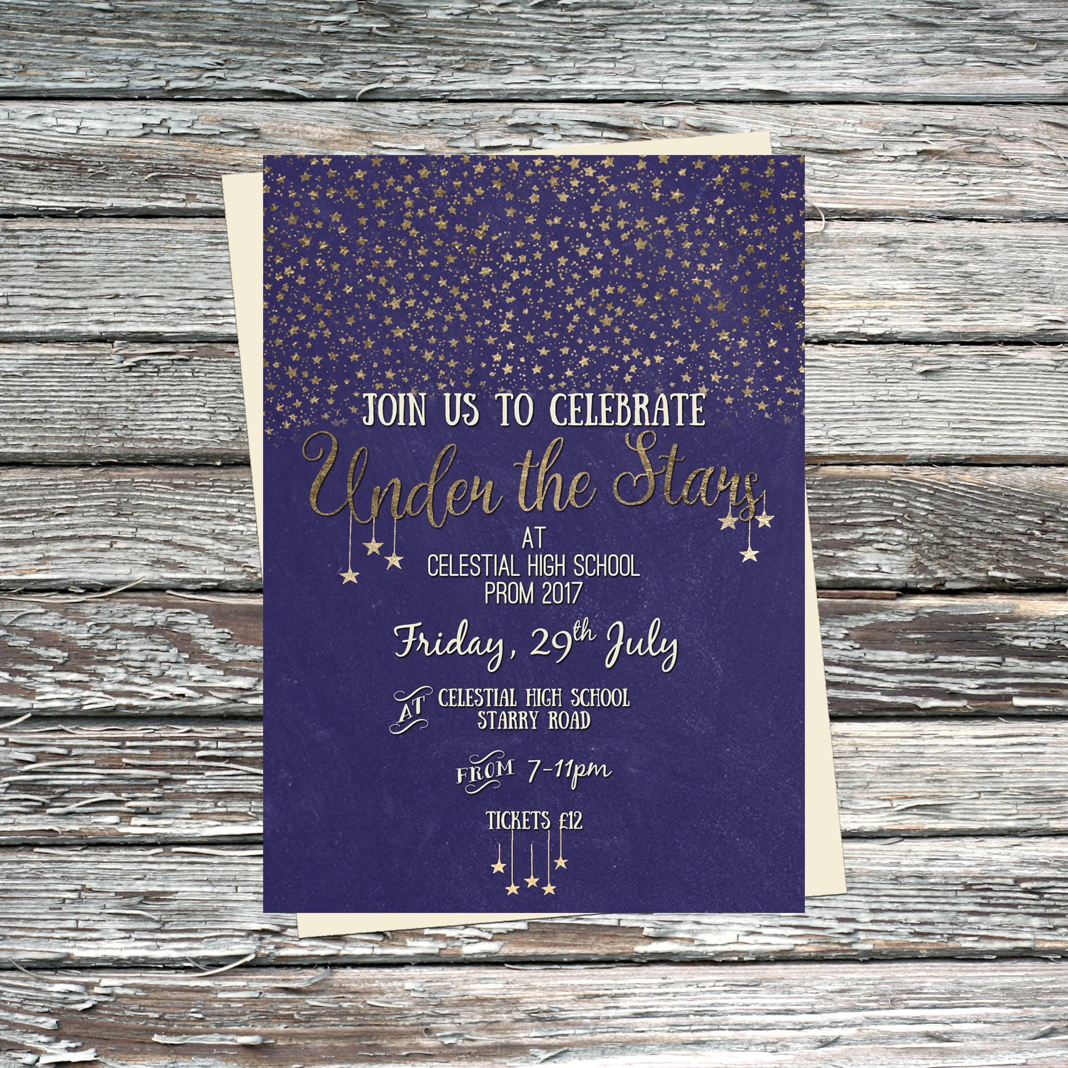 personalised under the stars party invitation poster etsy