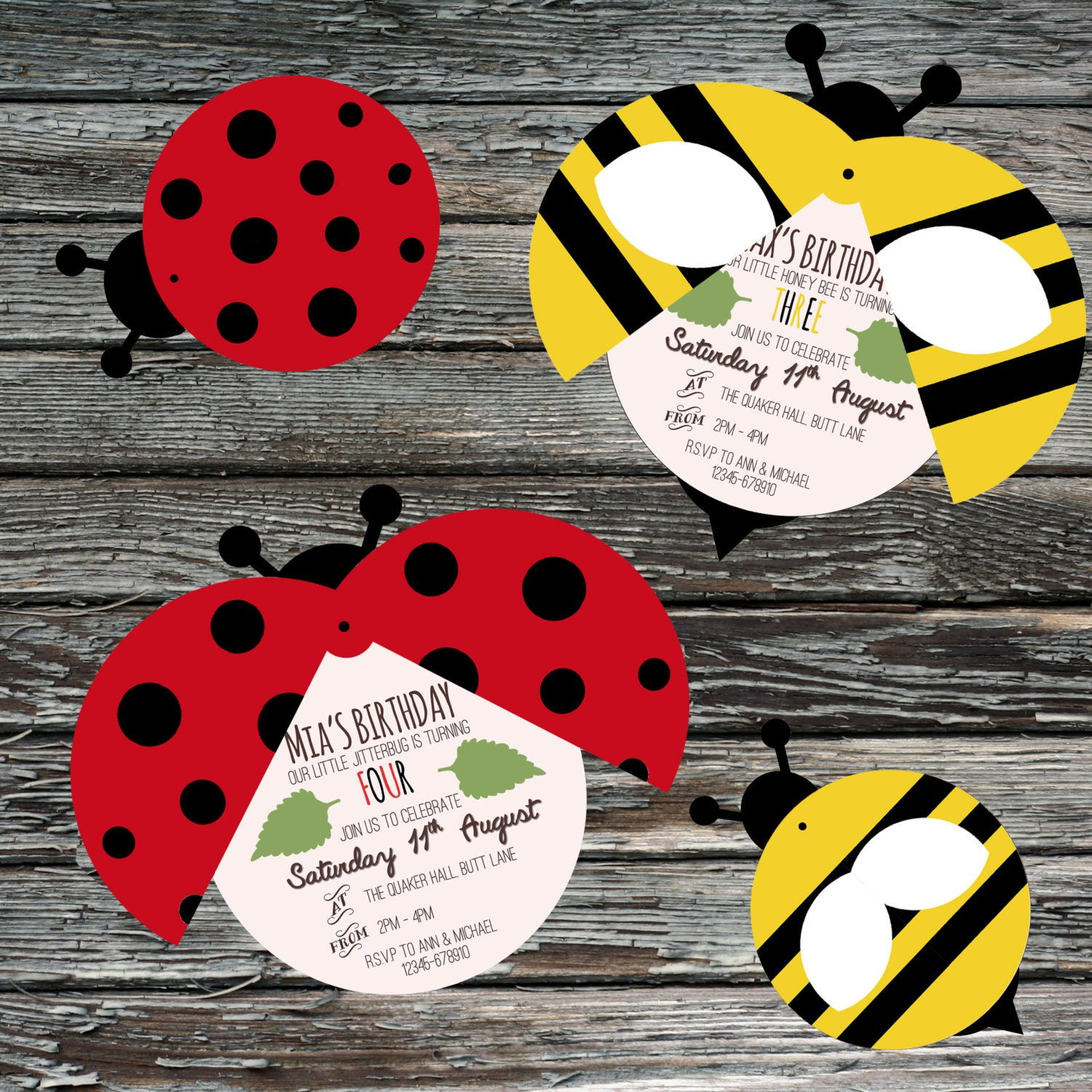 Personalised Ladybird invite Bumble Bee moving wings Insect