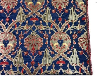 Jacquard Chenille Upholstery Fabric, Floral Fabric with Tulip & Clove Pattern, Oriental Style Heavy Fabric, Navy, by the Yard/Metre, Ach-032