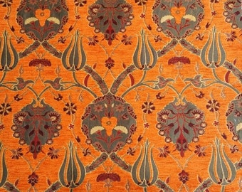 Chenille Jacquard Upholstery Fabric, Floral Drape Fabric with Tulip&Clove Pattern, Heavy Furniture Fabric, Orange, by the Yard/Metre,Ach-012