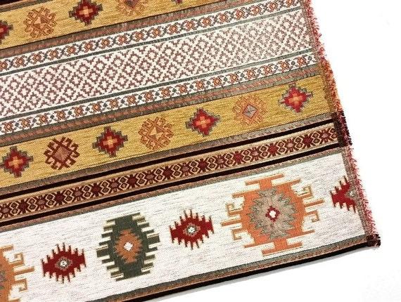 Ethnic Tribal Style Chenille Upholstery Fabric Aztec Navajo Etsy