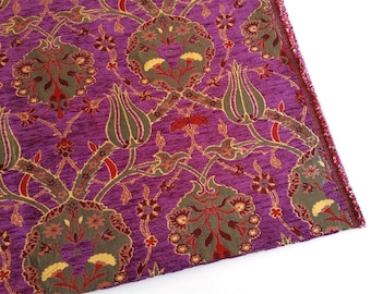 Chenille Upholstery Fabric, Floral Fabric with Tulip & Clove Pattern, Oriental Style Heavy Fabric, Purple, Ach-010