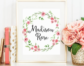 Printable wall art Custom Name Nursery Girls Room Personalized Customized Print Wall Decor Nursery Art Watercolor Flower Pink Blush Peach