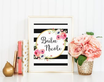Hello beautiful black and white stripe watercolor flower etsy custom name black and white stripe watercolor flower floral print printable wall art pink coral peach flowers personalized print love art mightylinksfo