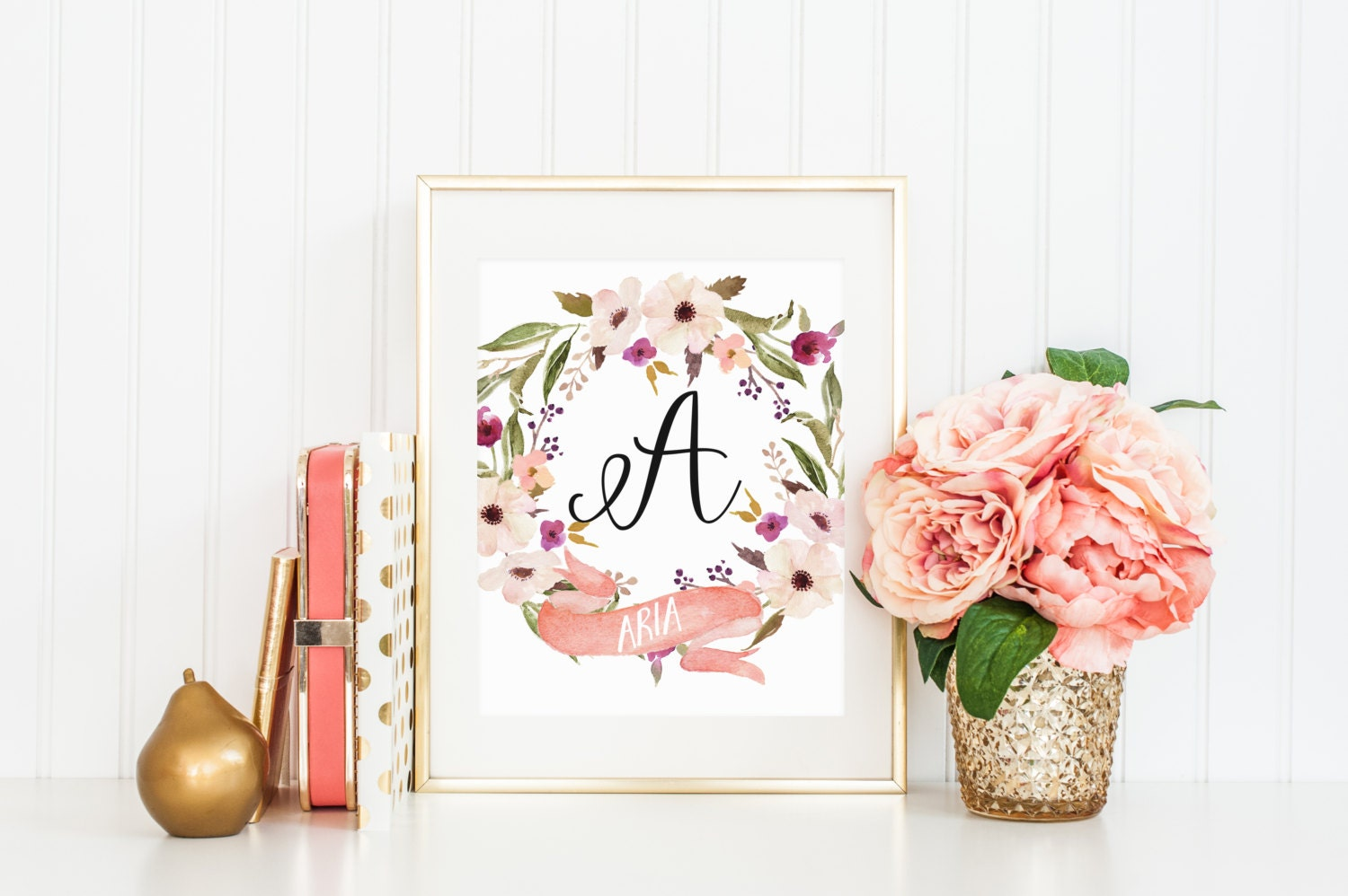 Custom Name Print Watercolor Floral Wreath Flowers Purple Pink Etsy