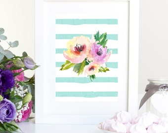 Watercolor Flower Print Floral printable peach and turquoise nursery wall art printable wall decor instant download watercolor nursery art