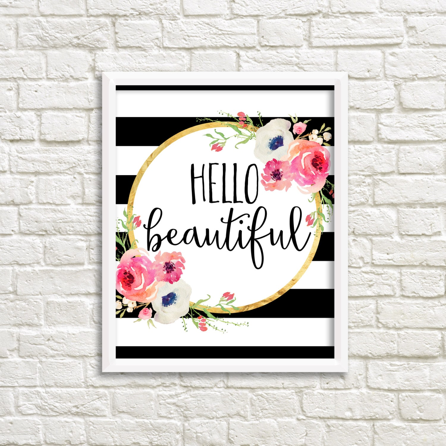 Hello Beautiful Black And White Stripe Watercolor Flower Etsy