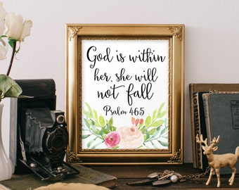 Nursery Bible Verse Print decor scripture nursery Christian wall art God is within her she  will not fall instant download printable decor