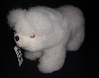 Alpaca Fur Stuffed Polar Bear Plush Animal Toy