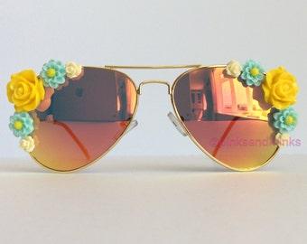 Chloe - Embellished Sunglasses Eyewear Reflective Amber Yellow Gold Flowers Sunnies