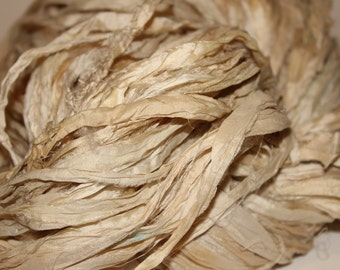 16-RSR) Silk Sari, Natural, Off White Cream Tan Shade Hues, Recycled Ribbon, Craft Supplies, Tassels, Fiber Jewelry Art, 5 yd. Mini Skein