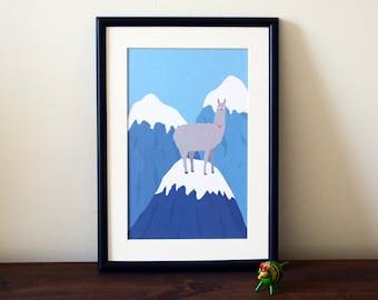 Llama illustration A4 print - llarma - Llama print - art print - wall art - home decor - Mountain illustration - animal - poster