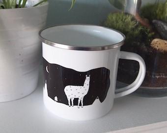 Enamel Mug, Llama, Mountains