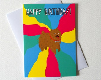 Dog birthday card - Happy Birthday - Pomeranian birthday card - birthday card - Queequeg